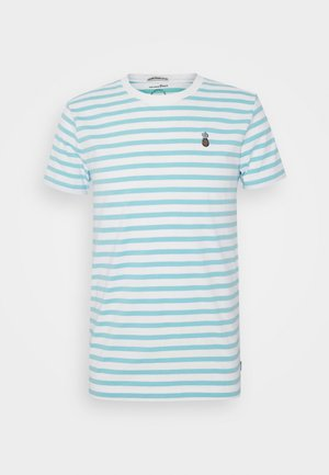 STRIPED EMBROIDERY - Camiseta estampada - soft sky blue
