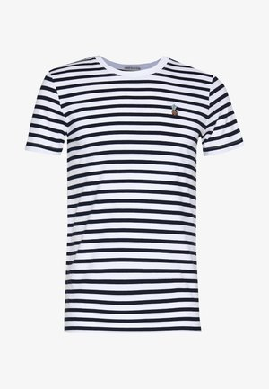 STRIPED EMBROIDERY - T-shirt print - navy stripe bold