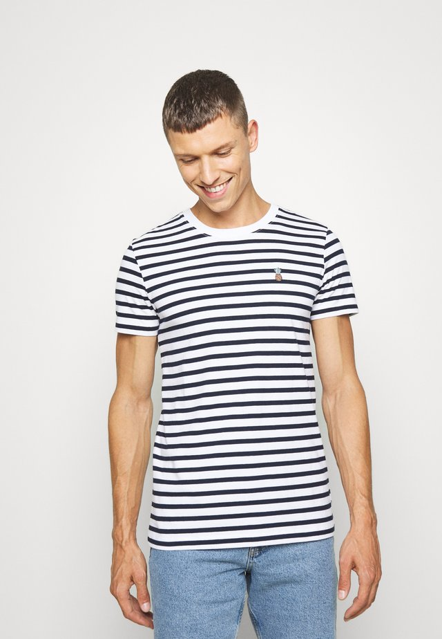 STRIPED EMBROIDERY - Print T-shirt - navy stripe bold