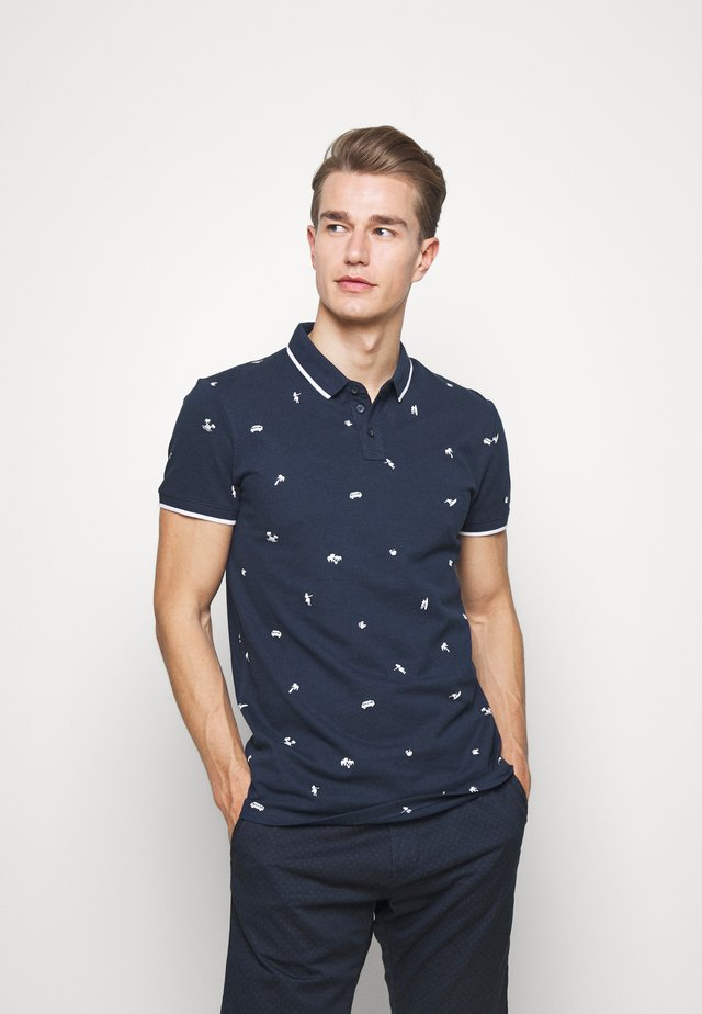 WITH ALLOVERPRINT - Polotričko - navy/white