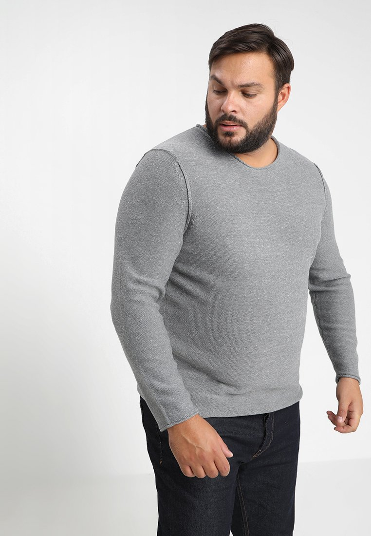 TOM TAILOR DENIM - REVERSED CREW ROLLED EDGES - Strickpullover - heather grey melange