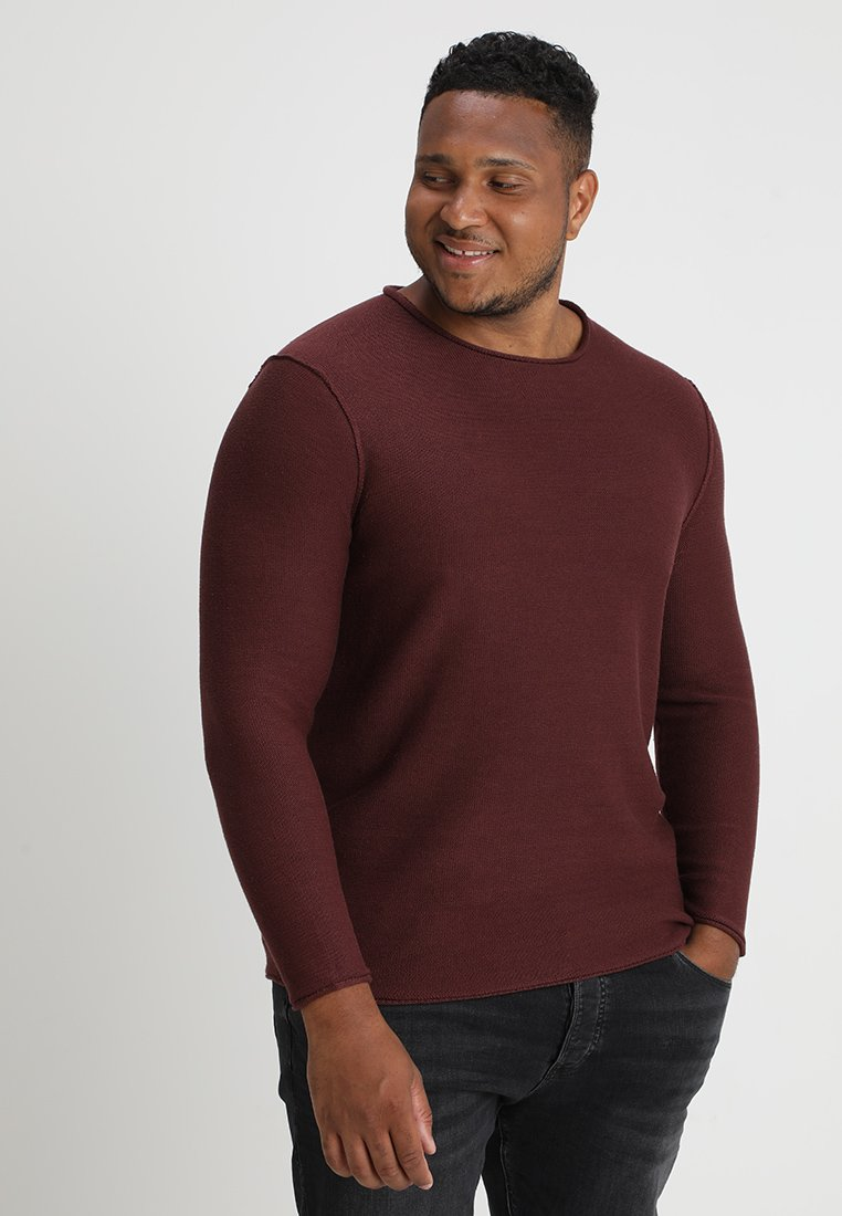 TOM TAILOR DENIM - REVERSED CREW ROLLED EDGES - Strickpullover - bordeaux