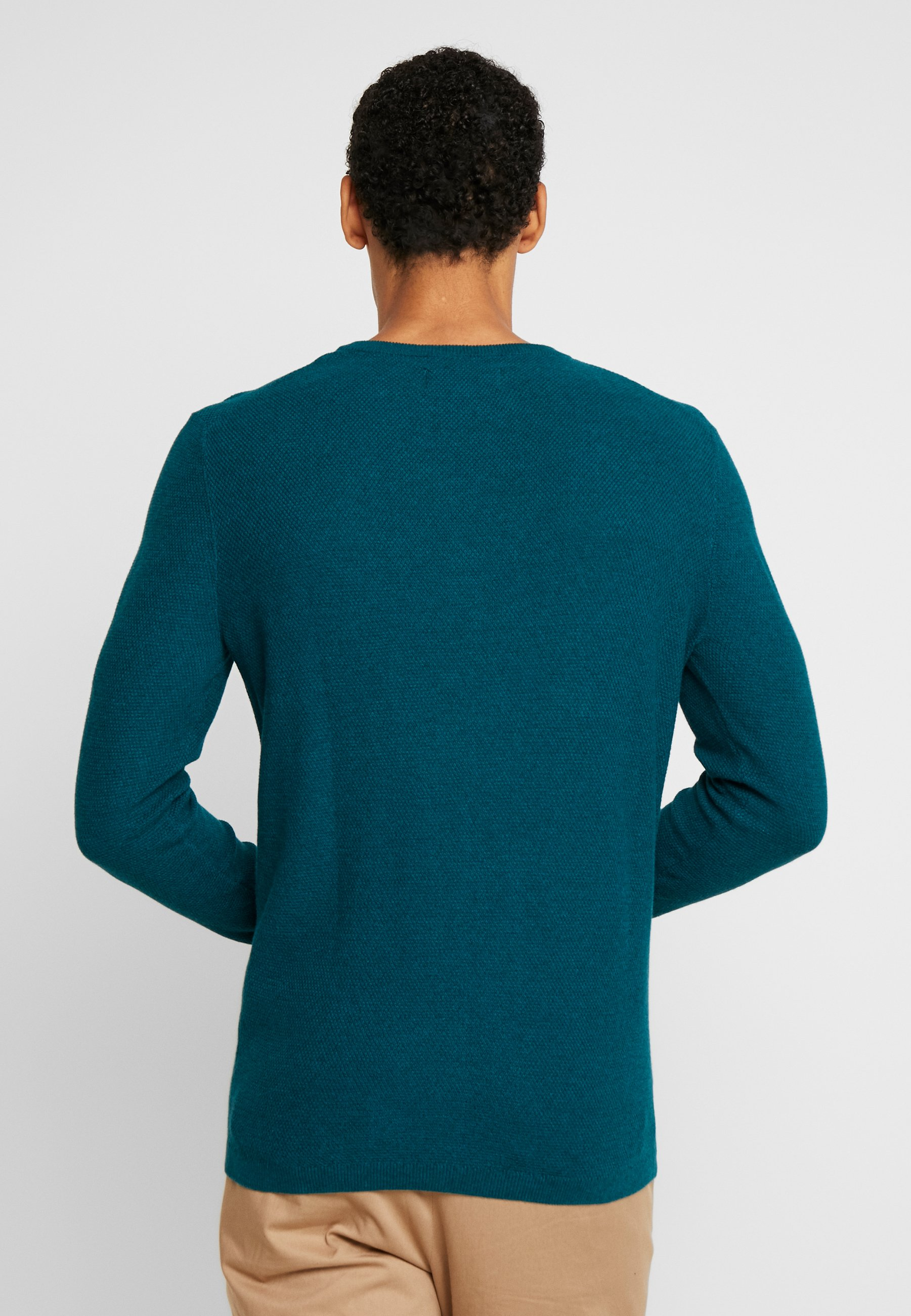 Tailor Tom Atlantic Structured NeckPullover Depth Crew green Denim Melange dBtshQrCx