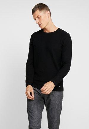 STRUCTURED CREW NECK - Pullover - balck