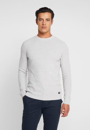 STRUCTURED CREWNECK - Stickad tröja - light stone grey melange