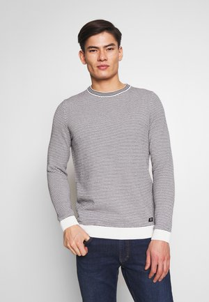 STRUCTURED STRIPE CREWNECK - Maglione - white