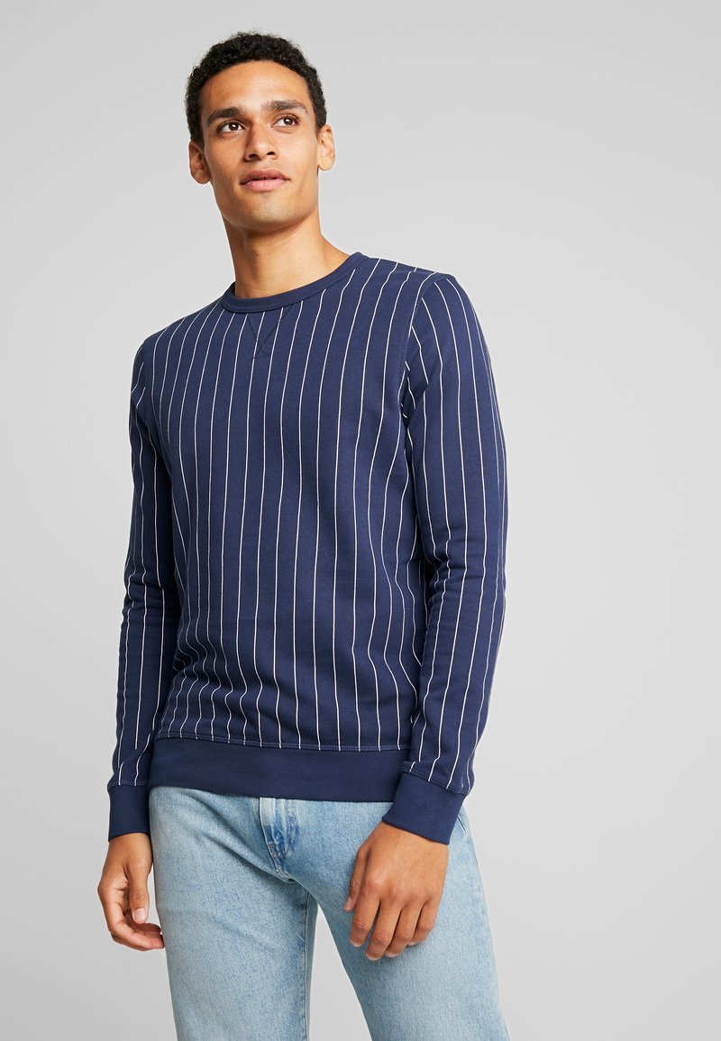 TOM TAILOR DENIM - Sweatshirt - navy/ white