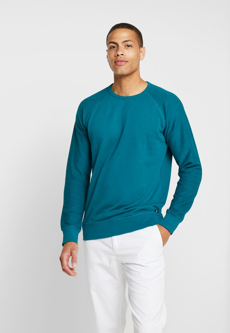TOM TAILOR DENIM - CREWNECK STRUCTURED SLEEVES - Sweatshirt - deep jade green