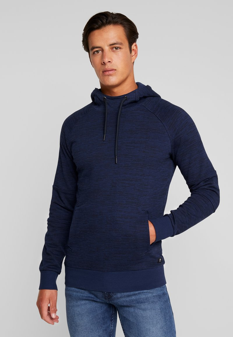 TOM TAILOR DENIM - CONTRAST HOODY - Jersey con capucha - agate stone/blue melange