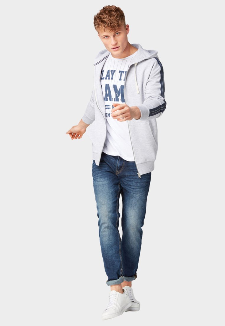 TOM TAILOR DENIM MIT TAPE DETAILS - veste en sweat zippée - grey