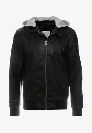 HOODED FAKE LEATHER JACKET - Faux leather jacket - black