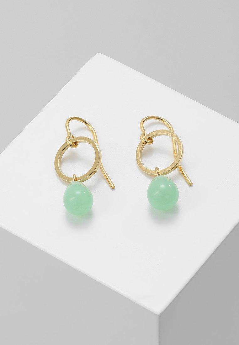TomShot - EARRING TEARS - Pendientes - gold-coloured/jade