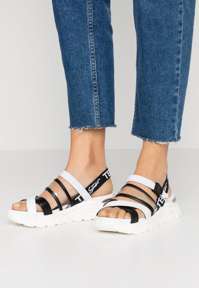 PONZA - Korkeakorkoiset sandaalit - bianco/nero