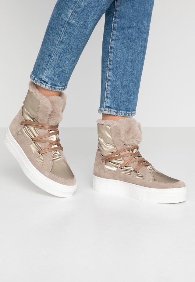 ADELE - Platform ankle boots - beige