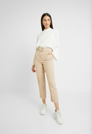 SELF COVERED BELT TROUSER - Trousers - stone