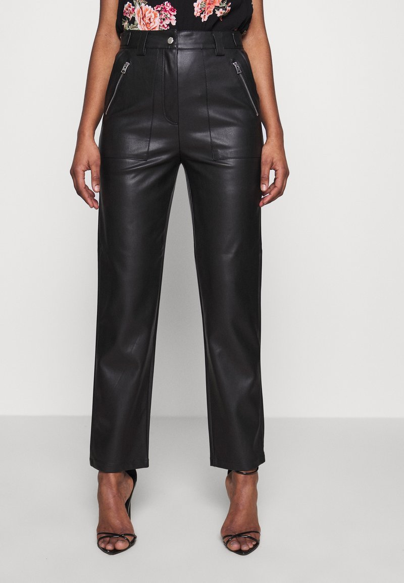 Topshop Tall - STRAIGHT - Trousers - black
