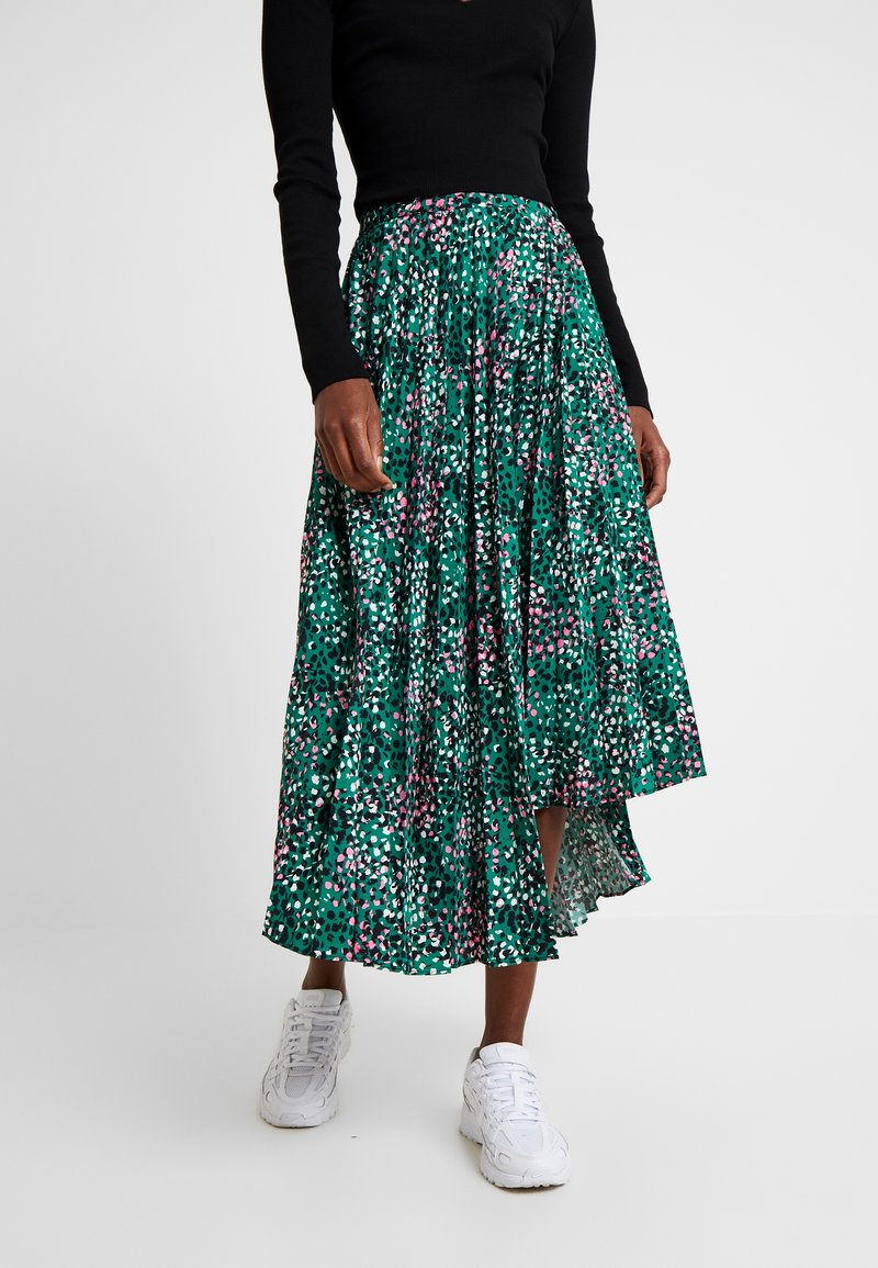 Topshop Tall - PAINTED SPOT PLEAT MIDI - A-Linien-Rock - green