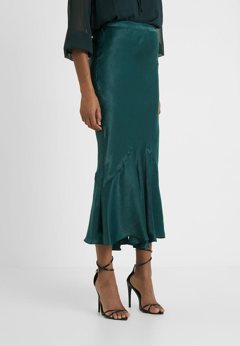 Topshop Tall - PLAIN FLOUNCE - Áčková sukně - dark green