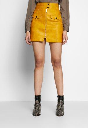 ZIP THRU PU MINI - Mini skirt - mustard