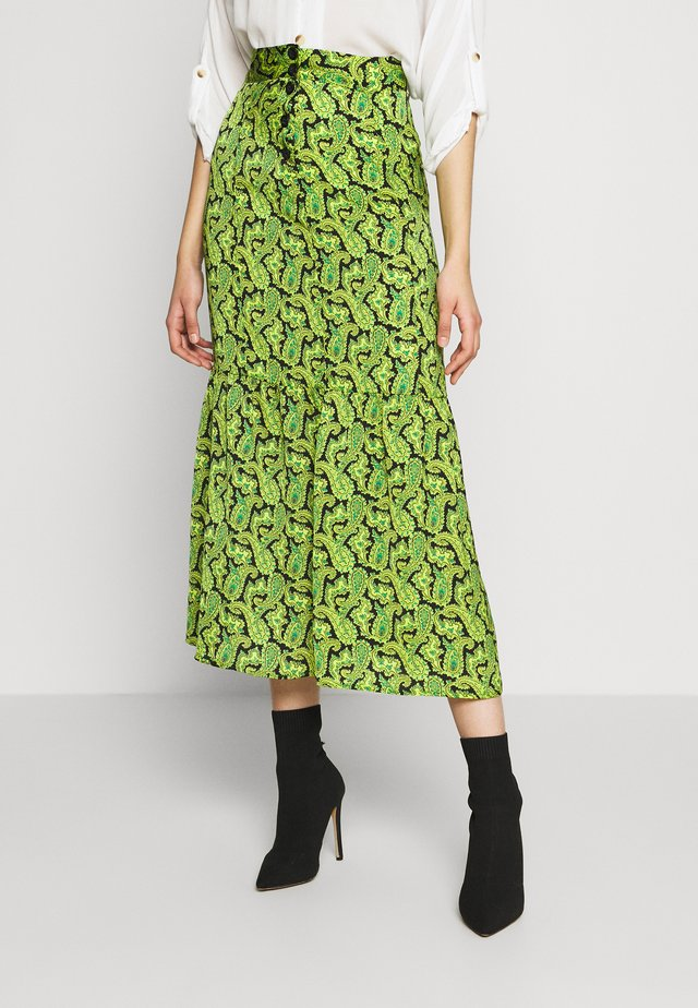 PAISLEY TIERED HEM - A-Linien-Rock - green