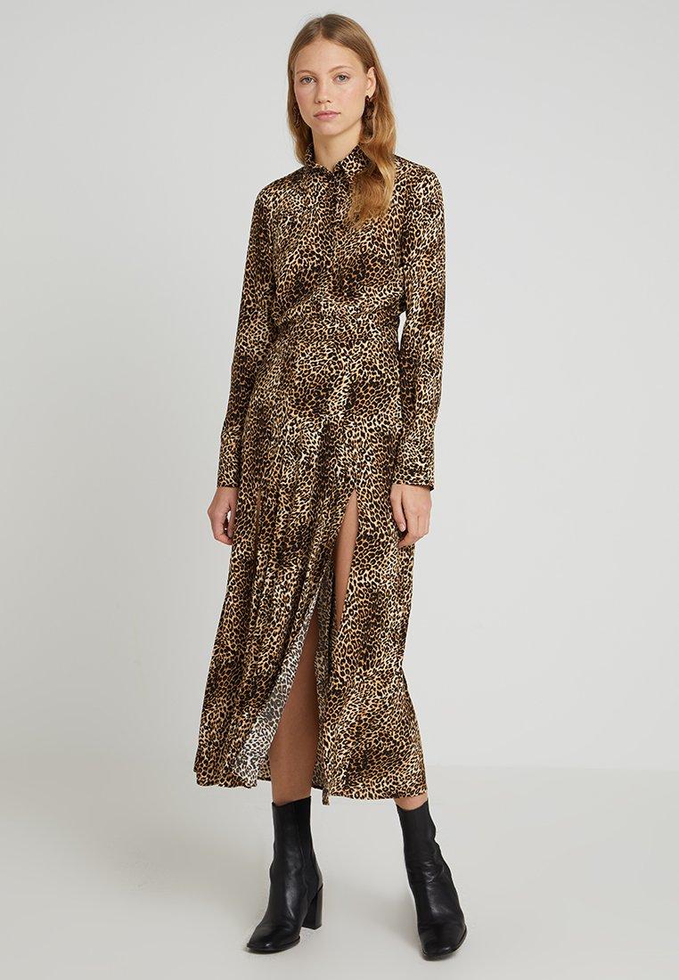 Topshop Tall - ANIMAL MIDI - Day dress - brown