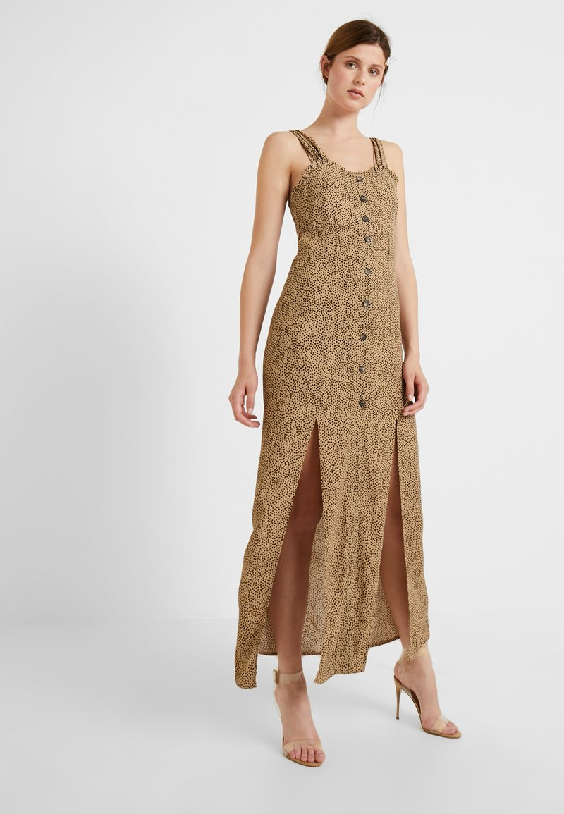 Topshop Tall - SPOT SPLIT FRONT DRESS - Robe longue - tan