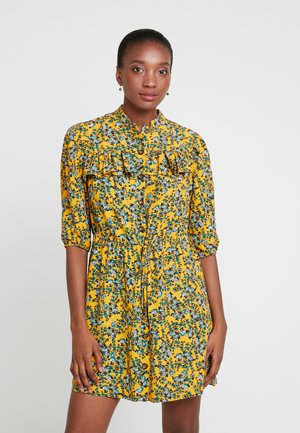 FLORAL PLEAT TRIM MINI - Abito a camicia - yellow