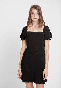 Topshop Tall - SQUARE NECK MINI - Denní šaty - black - 0