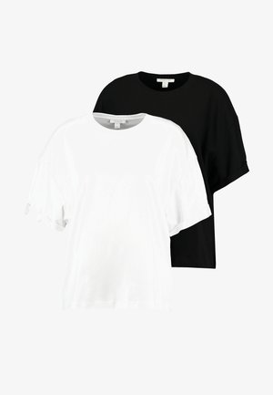 BOXY ROLL TEE 2 PACK  - Basic T-shirt - black/white