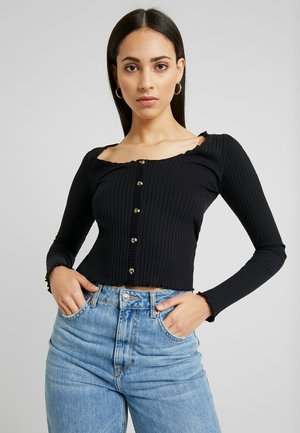 LETTUCE BUTTON - Long sleeved top - black