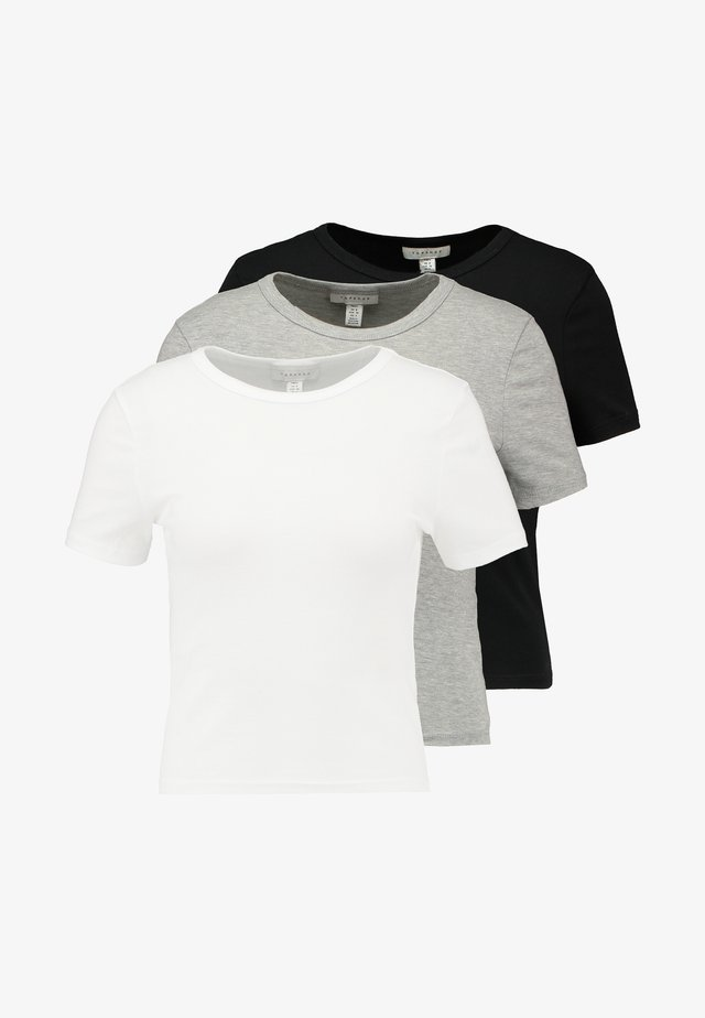 EVERYDAY TEE 3 PACK - Printtipaita - black/white/grey