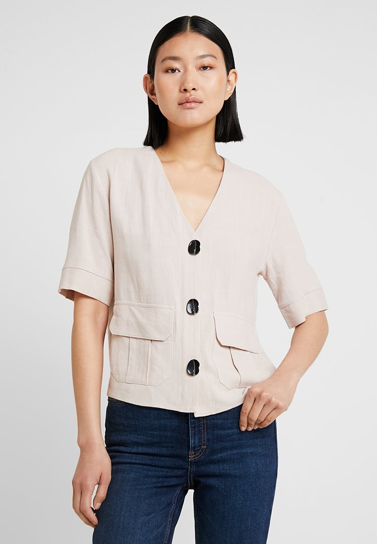 Topshop Tall - CHARLIE BUTTON DOWN - Blouse - stone