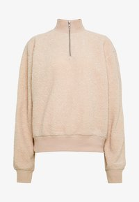Topshop Tall - CURLY ZIP UP FUNNEL - Fleece jumper - stone - 4