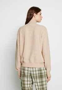 Topshop Tall - CURLY ZIP UP FUNNEL - Fleece jumper - stone - 2