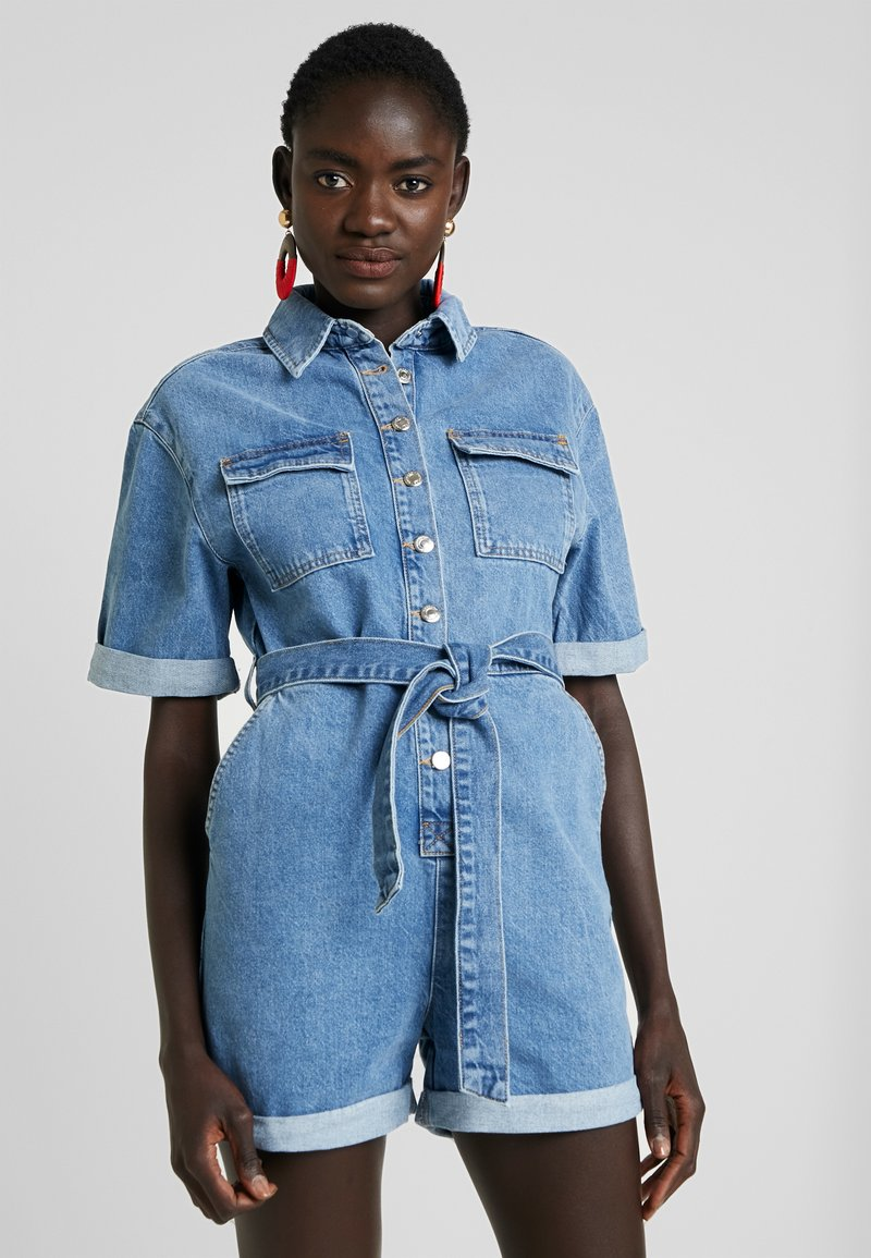 Topshop Tall - BUTTON ROMPER - Jumpsuit - blue denim