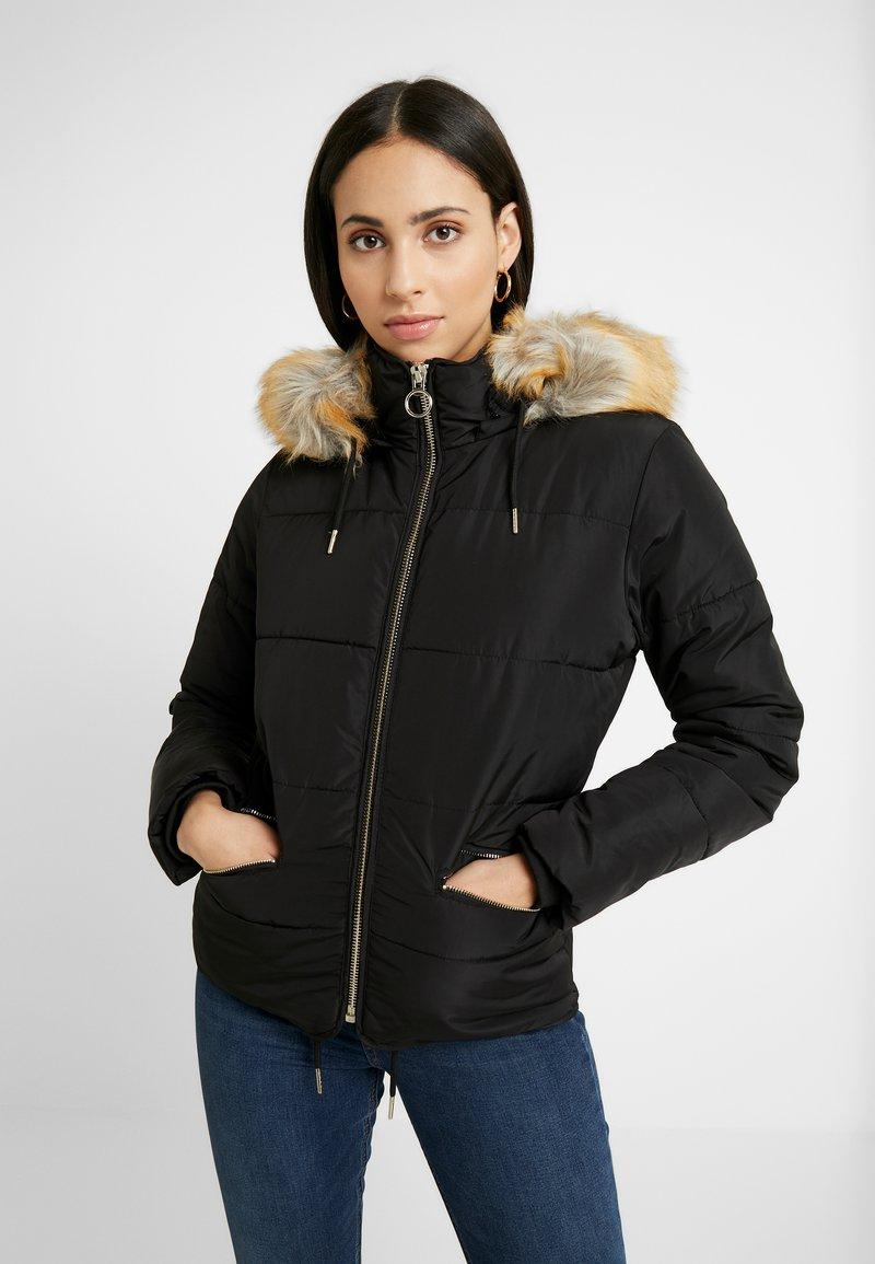 Topshop Tall - JACK HOOD PUFFER - Zimní bunda - black
