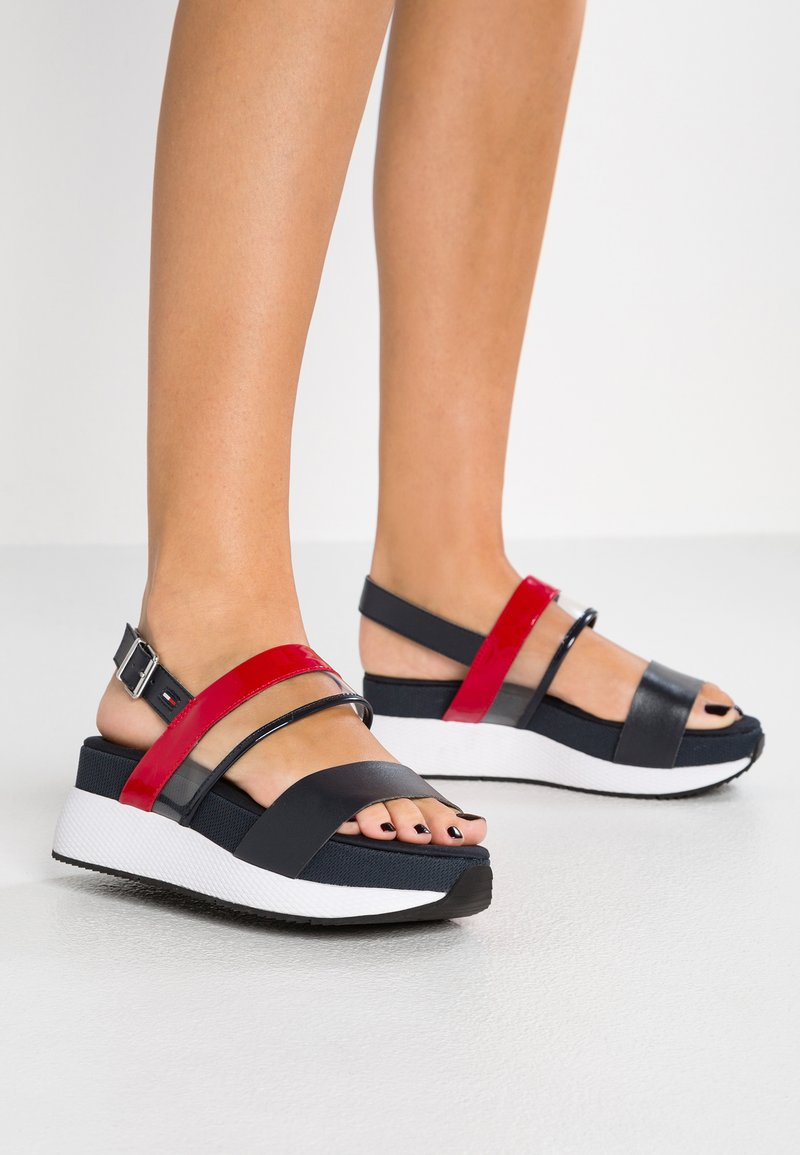 Tommy Jeans - TRANSPARENT HYBRID  - Plateausandalette - red