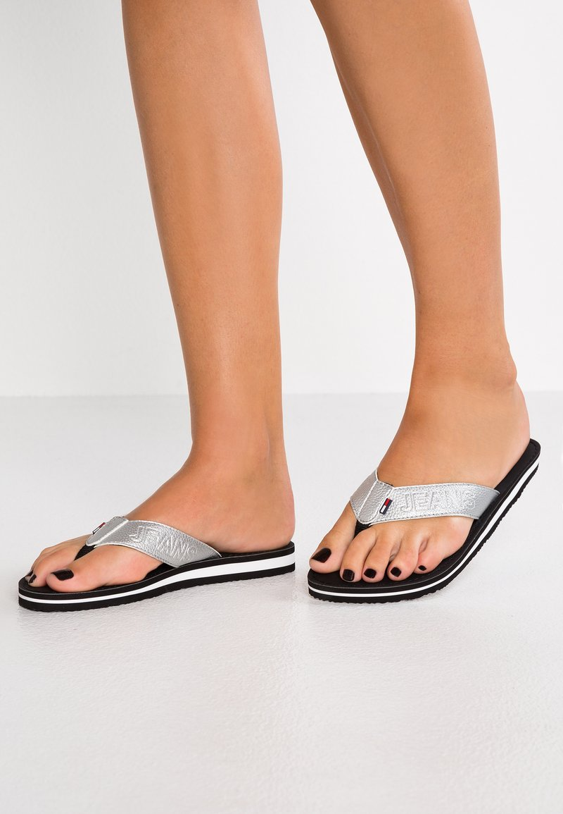 Tommy Jeans - SHINY METALLIC BEACH  - T-bar sandals - silver