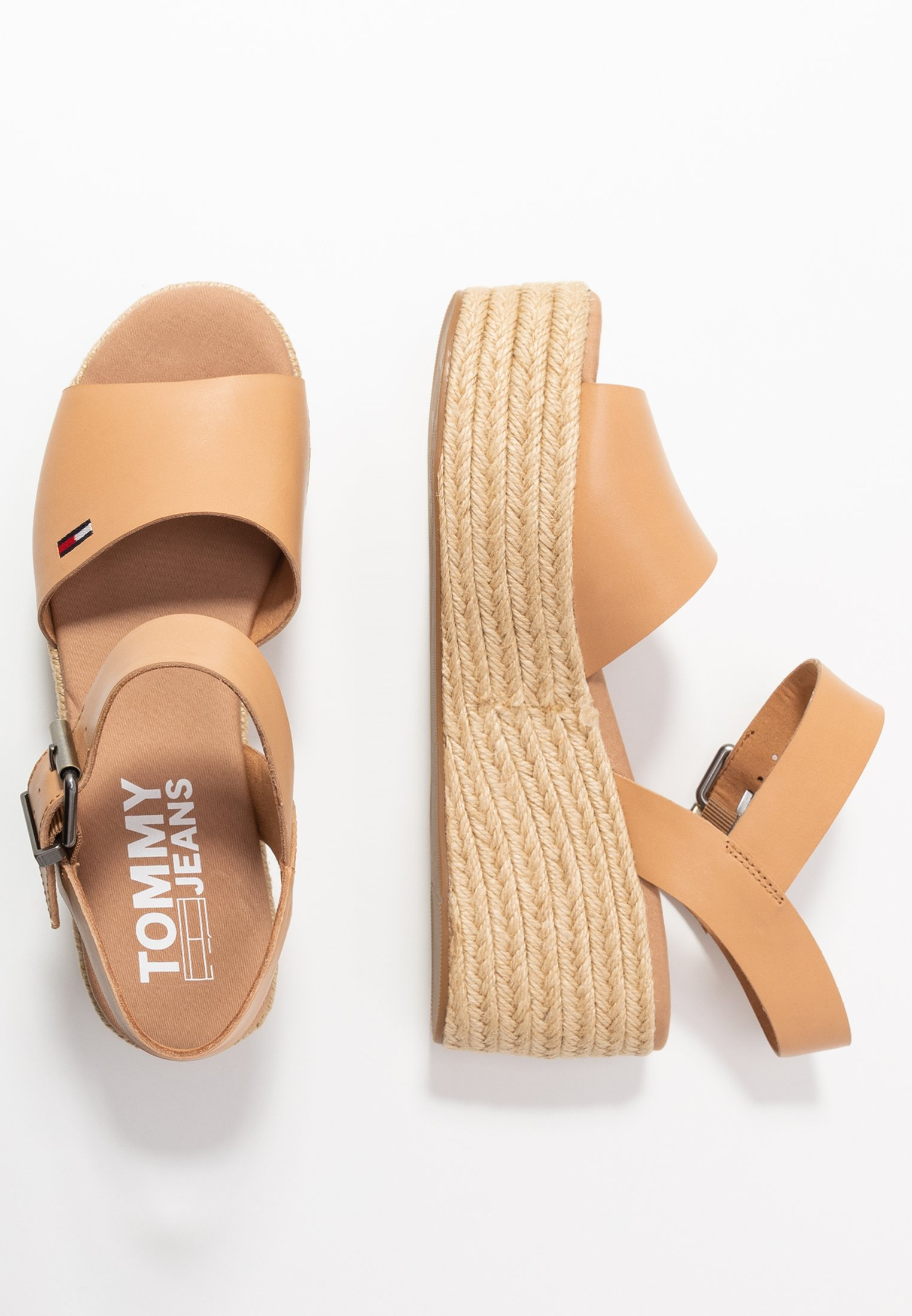 Tommy Jeans Natural Flatform Sandal - Sandalen Met Plateauzool Dusty Bronze Goedkope Schoenen