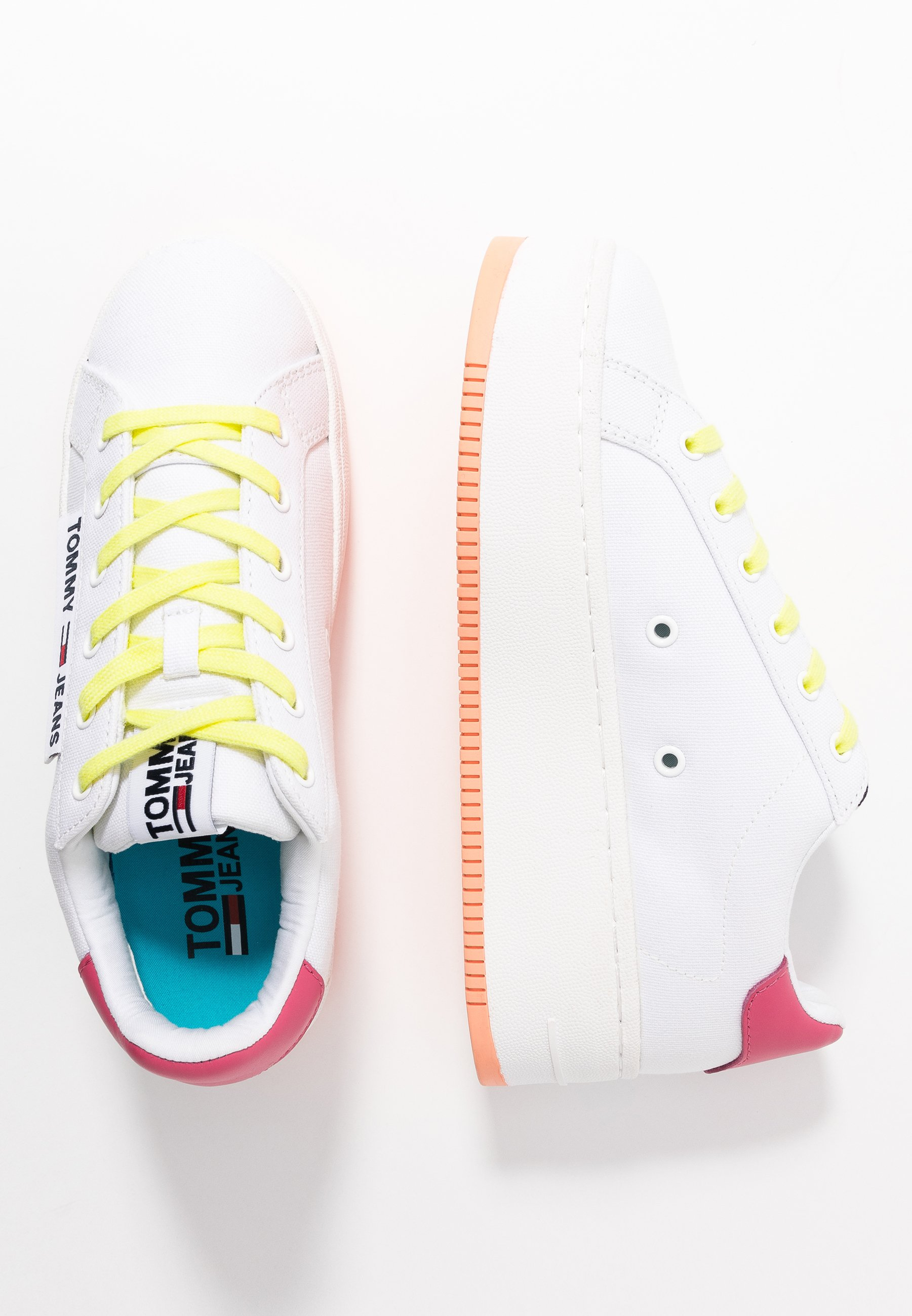 Tommy Jeans NEW ROXY 2D - Sneakers - white/blush red/melon orange