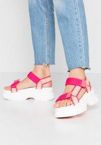Tommy Jeans - POP COLOR HYBRID SANDAL - Platform sandals - blush red - 0