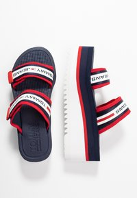 Tommy Jeans - CHUNKY TAPE FLATFORM SANDAL - Heeled mules - twilight navy - 3