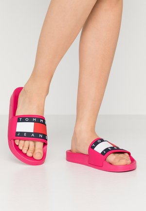 TOMMY JEANS FLAG POOL SLIDE - Pool slides - blush red