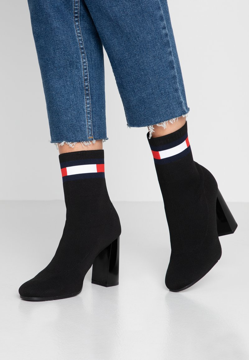 Tommy Jeans - SOCK HEELED BOOT - High heeled ankle boots - black