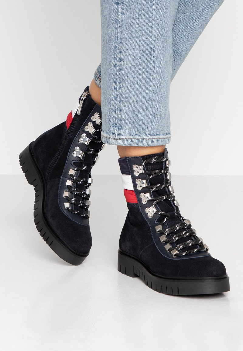 Tommy Jeans - PADDED NYLON LACE UP BOOT - Lace-up ankle boots - blue