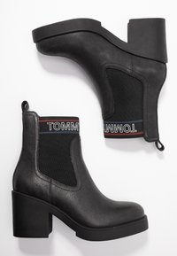 Tommy Jeans - CORPORATE ELASTIC LEATHER BOOT - Ankle boots - black - 3