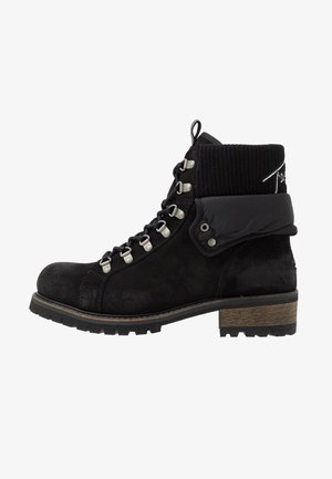 TURN COLLAR BOOT - Lace-up ankle boots - black