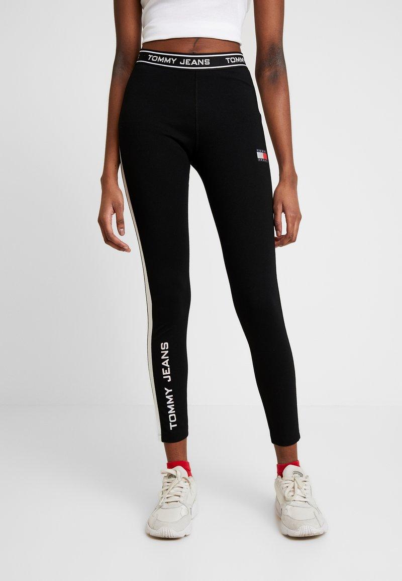 Tommy Jeans - METALLIC BLOCK - Leggings - Trousers - black