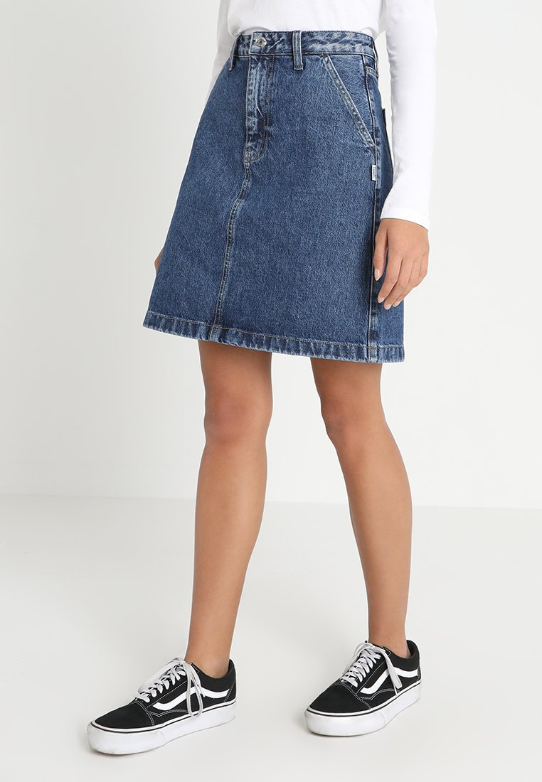 Tommy Jeans - A LINE SKIRT - Falda vaquera - mid blue