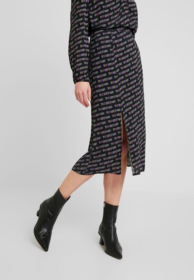 Tommy Jeans - OUTLINE PRINT SKIRT - A-line skirt - tommy black